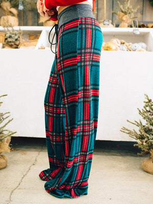 Mid Waist Plaid Printed Wide Leg Loungers