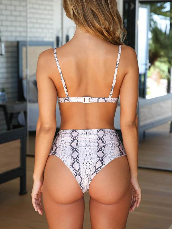 Printed High Waist Bikini Set