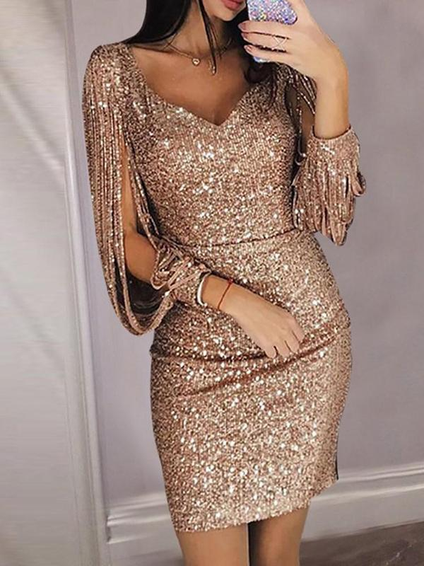Tassels Slit Sleeve Sequin Party Dress