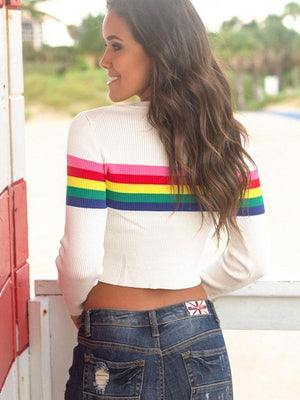 Vivimuses.com T-shirts O-neck Rainbow Long Sleeve Crop Top
