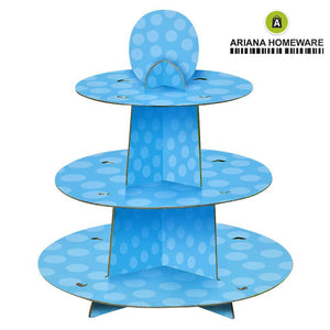 Blue Polka Cupcake Stand 3-Tier