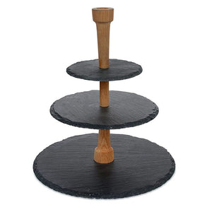 3-Tier Natural Slate with Wooden Bar
