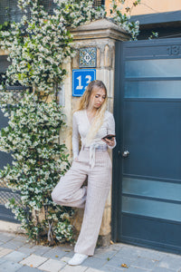 Pink Striped Straight Trousers