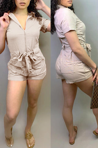 Shyfull Casual Zipper Design Romper