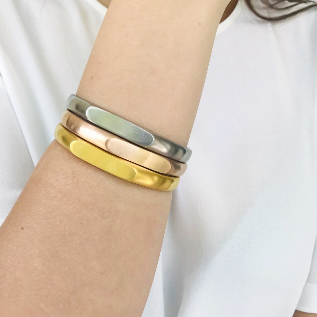 Decima - Id Bangle Stainless Steel Ion Gold Plating Bracelet