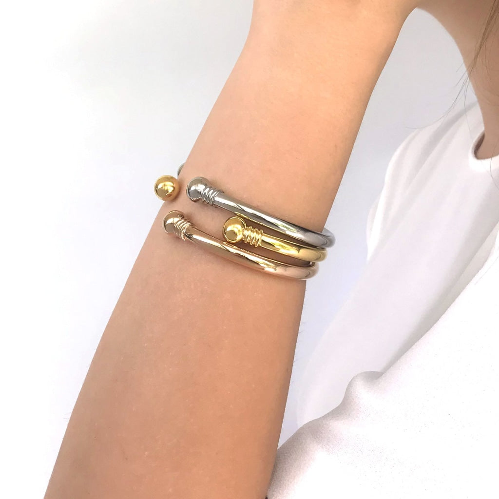 Decima - Box Bangle Stainless Steel Ion Gold Plating Bracelet