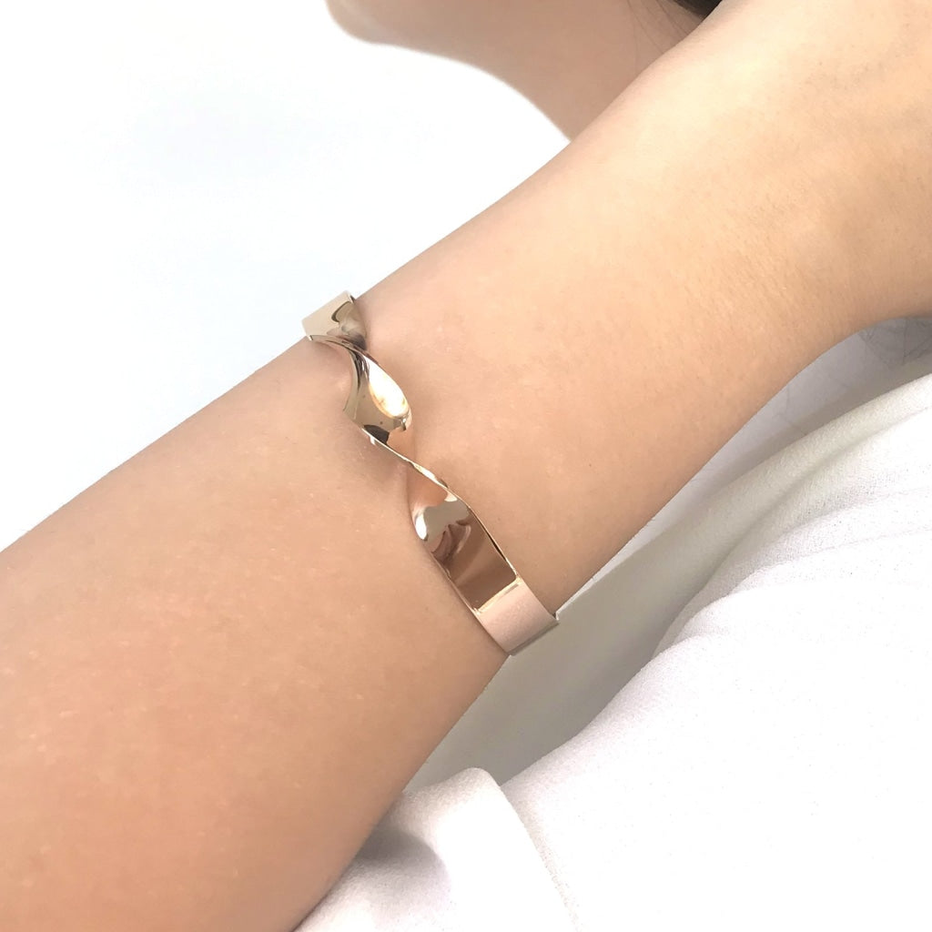 Decima - Wide Swirl Bangle Stainless Steel Ion Rose Gold Plating Bracelet