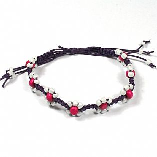 Handmade Macrame Flower Adjustable Pink Bead Surf Anklet with Waxed Cotton Cord