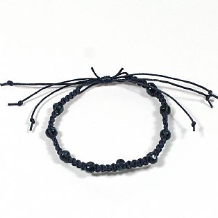 Tribal Surfer Navy Macrame and Wooden Bead Wristband Bracelet