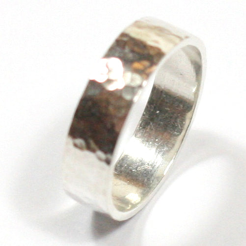 Handmade Chunky Hammered Wide 5mm Solid Silver 925 Band Ring Hallmarked