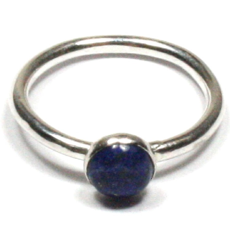 Handmade Solid Silver 925 Lapis Lazuli 1.8mm Stacking Ring