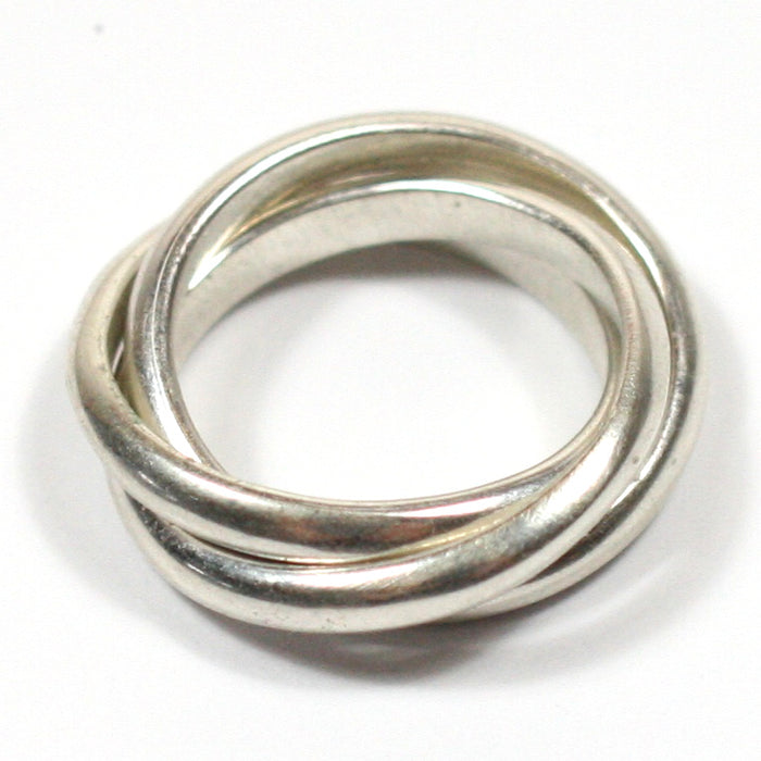Solid Silver Handmade Chunky 3 Band Russian Wedding Ring