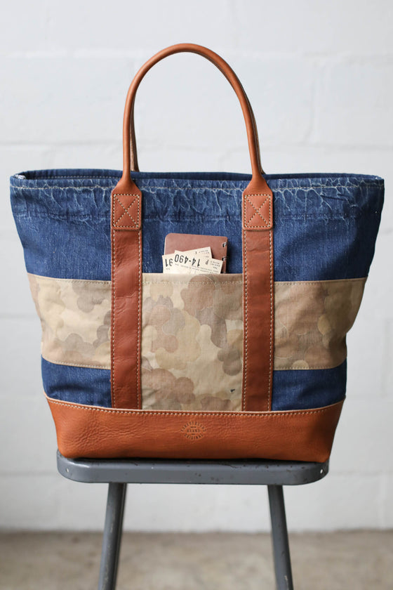WWII era Salvaged Denim & Camo Tote Bag