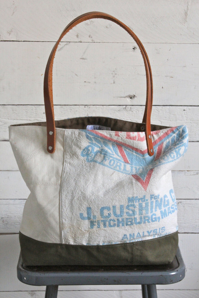 1940's era Quilted Canvas Tote Bag