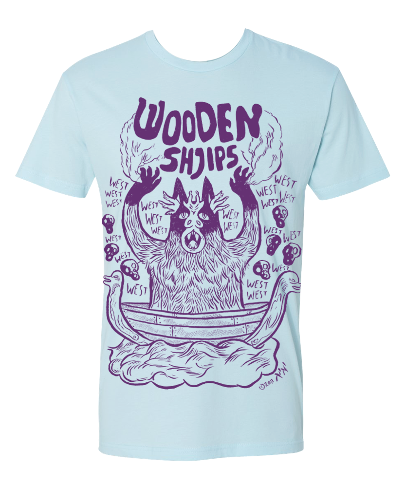 Purple Print Monster on Light Blue T-shirt