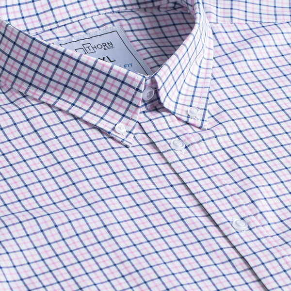 Rose and Navy Plaid Signature Fit Button-Down Collar Short Sleeve Shirt