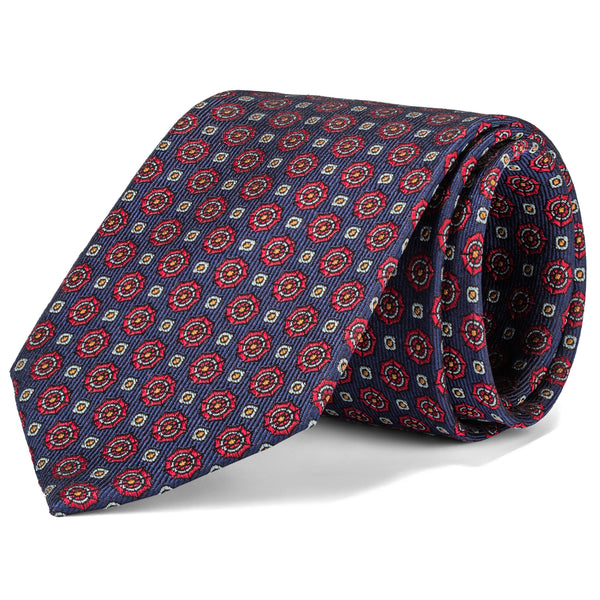 Navy and Red Mini Foulard Tie