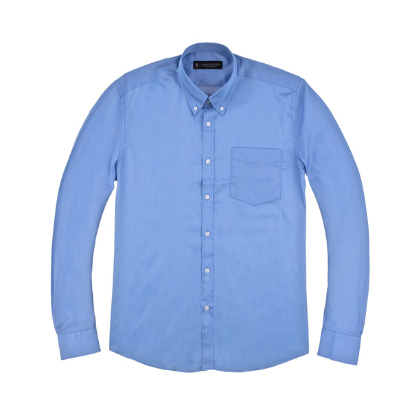 Light Blue & White Pindot Athletic Fit Button-Down Collar Shirt
