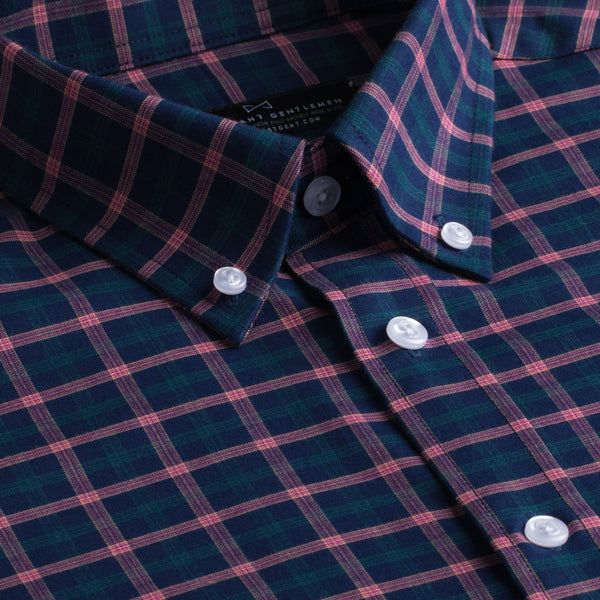 Navy, Green, and Red Plaid Slim Fit Button-Down Collar Short Sleeve Shirt