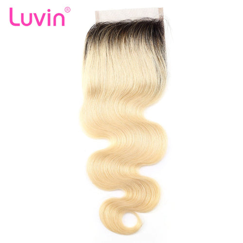 Human blonde hair lace closure #1B613 body wave