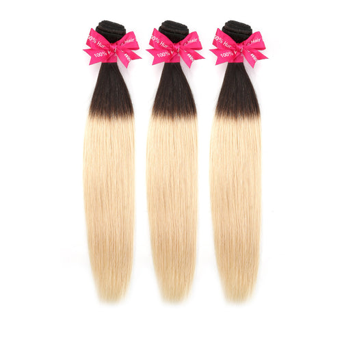 Human Remy Blonde Hair #1B613 Natural Straight