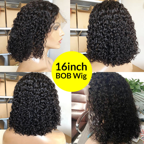 Undetectable transparent bob wig human hair 13x6 lace wig deep curly