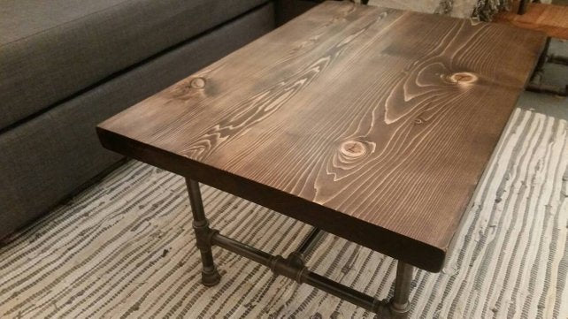Coffee Table #2 - Pipe And Wood Designs