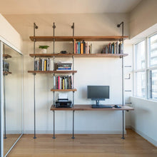 Load image into Gallery viewer, Pipe and Wood Desk with Bookcase - Pipe And Wood Designs