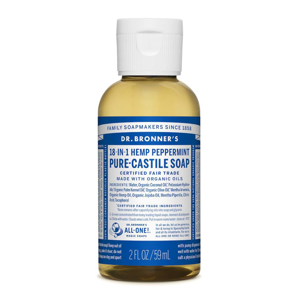 Dr. Bronner's 18-in-1 Peppermint Pure Castile Liquid Soap - 59ml