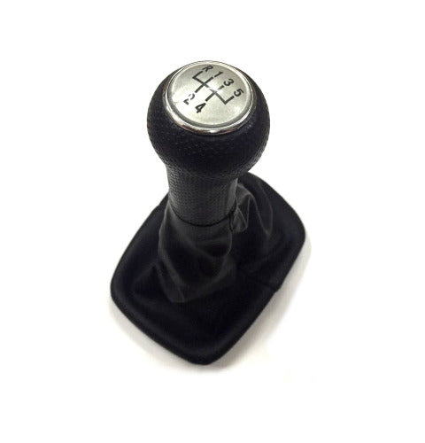 Gear Knob & Shift Boot (Silver 5 Speed Pattern No Frame)