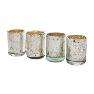 Silvered Mercury Glass Votive Set