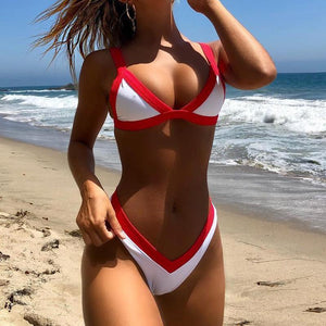 Sexy solid color bikini split swimsuit