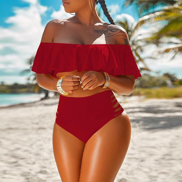 One word collar pure color sexy swimsuit