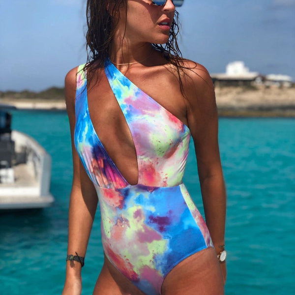 Sexy Single Shoulder Mixed Color Beach Piece Swimsuit