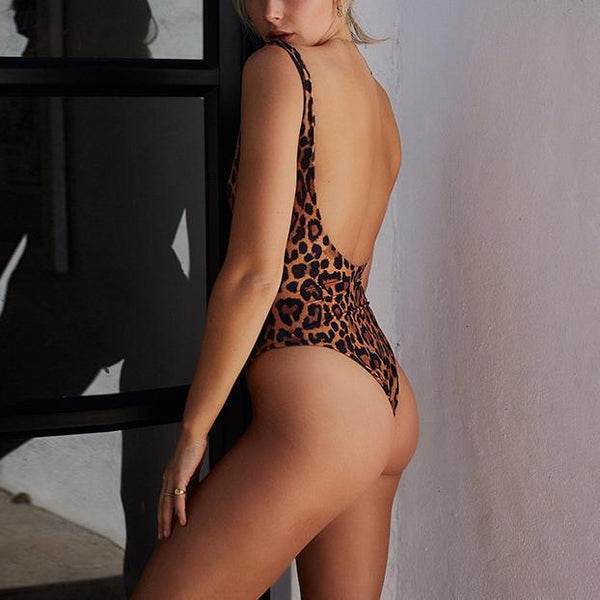 Fashion Leopard Print Simplicity Backless Piece Swimsuit