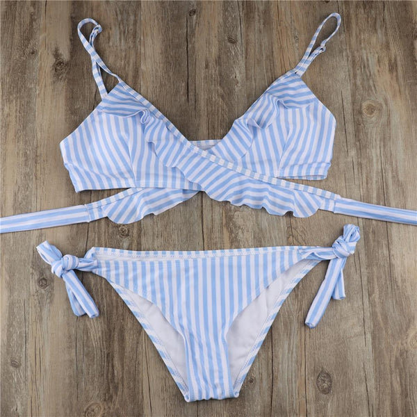 Sexy Falbala Crossover Strappy Strip Printed Split Bathing Suit