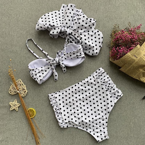 One Shoulder  Bowknot Flounce  Pleated Bodice Polka Dot Bikini