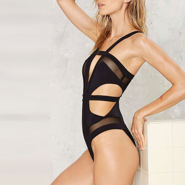 Spaghetti Strap  Cutout See-Through  Plain One Piece