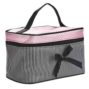 Women's Makeup Case Square Bow Stripe Bag Ladies Cosmetics Casual Bag mochila feminina #XTJ