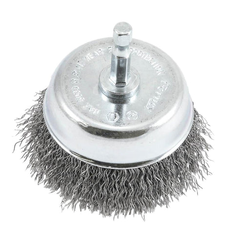 "Cup Brush Crimped, 3"" x .012 x 1/4"" Hex Shank"