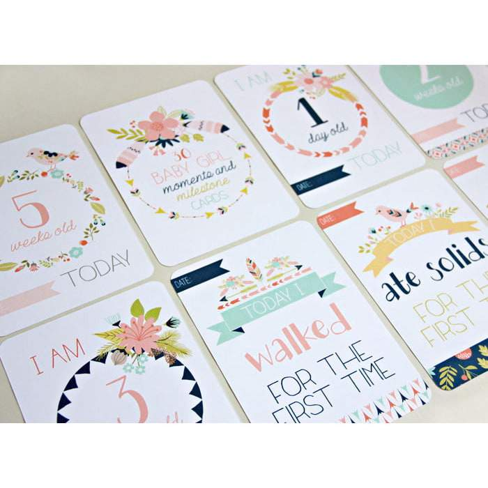 Baby Girl Moments and Milestones Cards