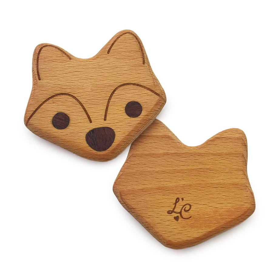 Fox Organic Baby Toy Wooden Rattle - Personalised