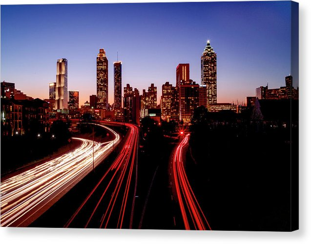 Atlanta At Night - Canvas Print - SEVENART STUDIO