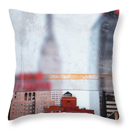 Empire State Blur - Throw Pillow - SEVENART STUDIO