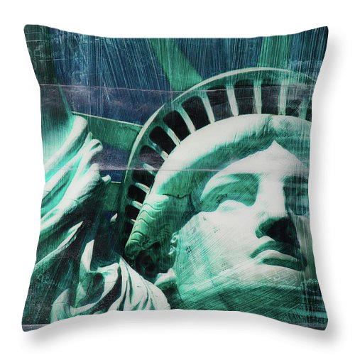 Lady Liberty - Throw Pillow - SEVENART STUDIO