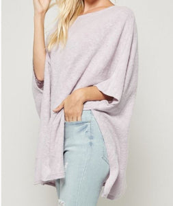 Brushed Knit Poncho with Open back detailing