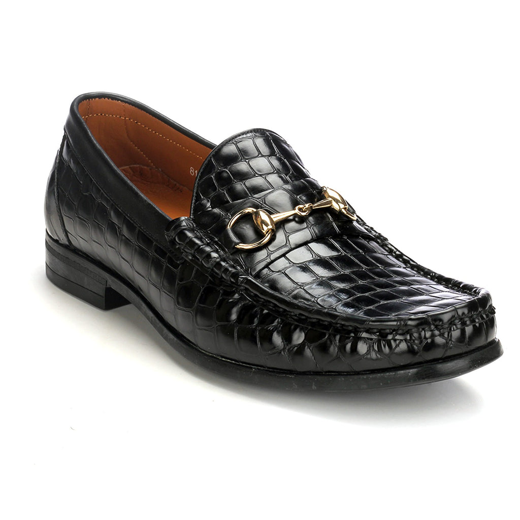 Leather Bit Loafers with Metal Embellishment - Slipon - Pavers England