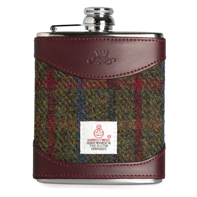 6oz Harris Tweed and Burgundy Leather Hip Flask