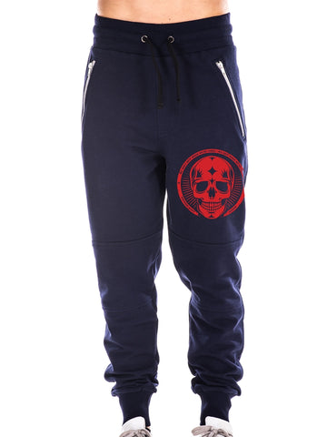 Navy Blue Pants, Red Skull