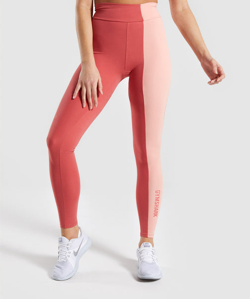 Gymshark Duo Leggings - Brick Red/Peach 2